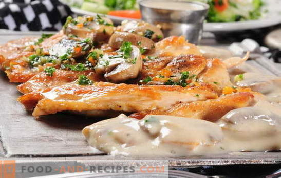 French meat with mushrooms in the oven - we love him too! French meat recipes with mushrooms, tomato, potatoes