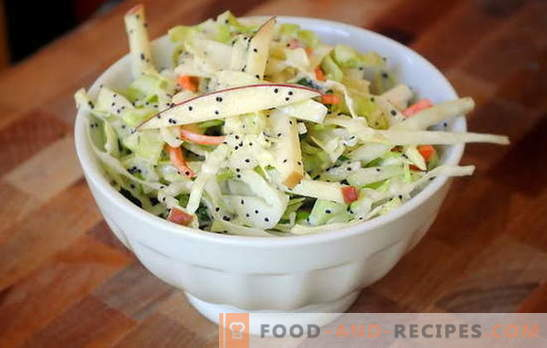Cabbage salad with apple - vitamin recharging! Recipes cabbage salad with apples for everyday and fasting days