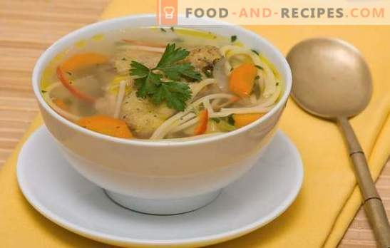 Chicken noodle soup - light, tasty, hearty lunch. Recipes of chicken soup with noodles: with vegetables, mushrooms, cheese