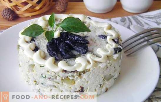 Smoked chicken salad with prunes - it will be delicious! Recipes simple and puff salads from smoked chicken with prunes