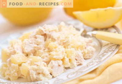 Chicken salad with pineapple and cheese - the best recipes. How to properly and tasty cook a chicken salad with pineapple and cheese.