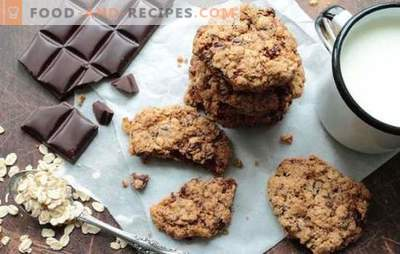 Oatmeal Cookies with Chocolate - quick baking. Recipes crumbly oatmeal cookies with chocolate oatmeal and flour