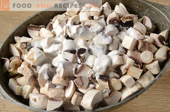 Potatoes with mushrooms in the oven with sour cream - an aromatic and nutritious dish. Author's step by step photo recipe of baked potatoes with mushrooms