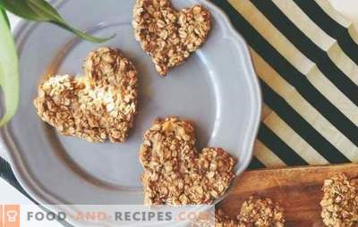 Oatmeal cookies from rolled oats: a healthy dessert. Variants of oatmeal cookies from rolled oats with ginger, banana, honey, dried fruits