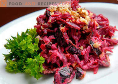 Salad from beets, walnuts and prunes - the best recipes. How to properly and deliciously cook a salad with beets, nuts and prunes.