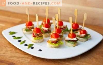 Snacks on skewers - always tasty and spectacular. Simple recipes of original canapés and fruit snacks on skewers