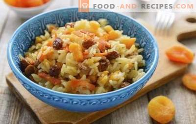 Pilau with dried apricots and raisins - original recipes of traditional dishes. How to cook rice with dried apricots and raisins in a slow cooker and a cauldron