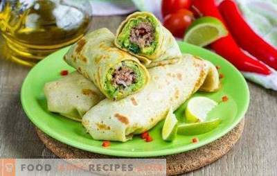 Lavash roll with minced meat baked in the oven - a hearty dish. Bake in the oven roll of pita with minced meat, vegetables, cheese