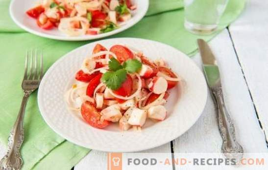 Crab salad with tomatoes - real beauty in simplicity! Top 10 proven recipes for crab salad with tomatoes