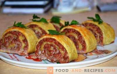 Dough rolls with minced meat - original and satisfying! Cooking juicy and tasty rolls of dough with minced meat on the stove and in the oven