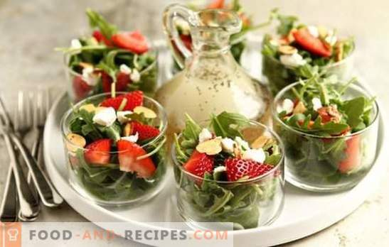 Salads with strawberries, fruits, vegetables, cheese, nuts, mushrooms. How to make healthy and tasty strawberry salads?