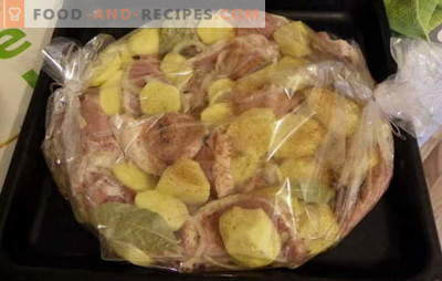 Bake potatoes with meat in their sleeves: recipes for the lazy? Juicy, ruddy, spicy and