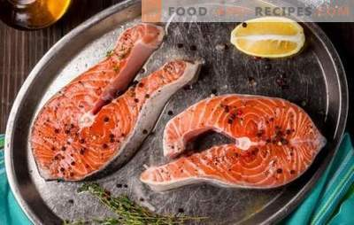 Salmon steak in a pan, in an oven, on a grill. Six variants of salmon steak with potatoes, lemon, vegetables
