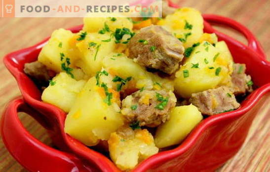Stewed potatoes with pork. Recipes of pork with potatoes for a romantic dinner and a hearty lunch