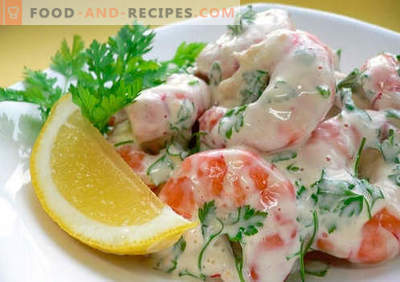 Crab salad with shrimps - a selection of the best recipes. How to properly and tasty cooked crab salad with shrimp.