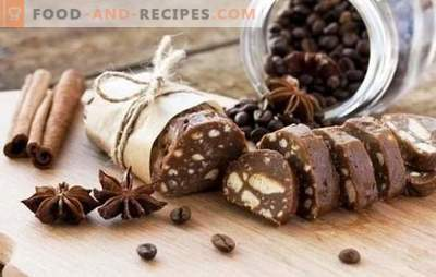 Chocolate sausage - recipes wonderful dessert. Cooking chocolate sausage from cookies, with cocoa, condensed milk, nuts
