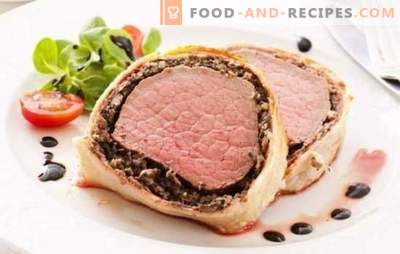 Pork in dough - fragrant meat to garnish or snack. Recipes of pork in the dough in the oven and in the pan: with mushrooms, apricots, cranberries