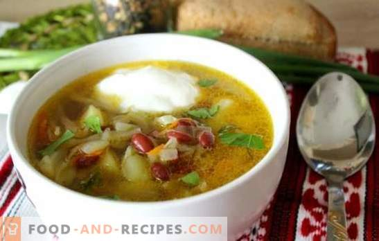 Soup with beans - a traditional hot dish in a new variation. The best recipes of cabbage soup with beans, cabbage, eggplants, mushrooms