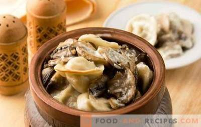Potato dumplings baked in the oven - just delicious. Recipes dumplings in the pots with cheese, mushrooms, liver, tomato