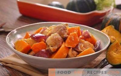Chicken with a pumpkin in the oven - poultry dishes without unnecessary trouble. Bake whole or sliced ​​chicken with pumpkin in the oven