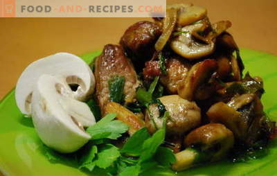 Meat with champignons - aroma and taste. Meat recipes with champignons: stewed, fried, in the oven, in a pan, in a slow cooker