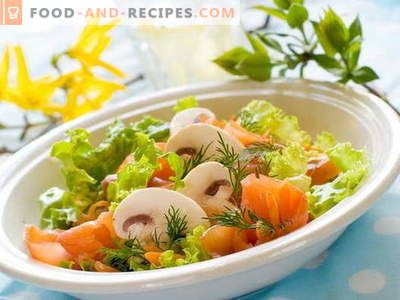 Salad with red fish - proven recipes. How to cook a salad with red fish.