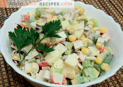 Salad with avocado and crab sticks - the best recipes. How to properly and tasty to prepare a salad of avocado and crab sticks.