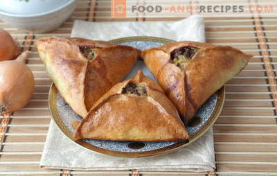 Triangles with meat and potatoes - Tatar Echpochmaks or Samsa? Recipes of triangles with meat and potatoes from different dough