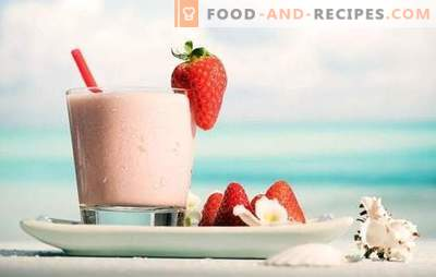 Feel the positive of the day - milkshake with strawberries! Recipes milkshakes with strawberries and chocolate, banana, raspberries