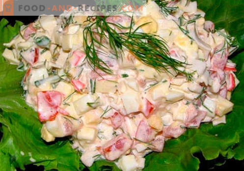 Crab salad with cheese - the five best recipes. How to properly and tasty cooked crab salad with cheese.