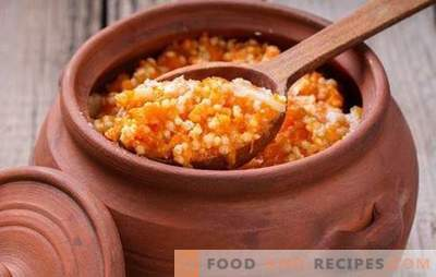 Millet porridge with pumpkin in a pot is cooked without a Russian oven. Lenten, sweet and crumbly millet porridge with pumpkin in a pot