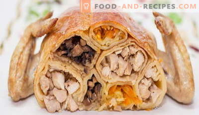 Chicken stuffed with pancakes - the best recipes. How to properly and tasty cook stuffed chicken pancakes.