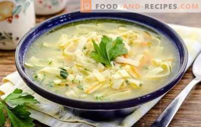 Noodle broth is the best dish for lunch. The best recipes for broth with noodles: homemade, wheat, rice and buckwheat