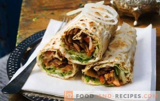 Shawarma with sausage - a hearty snack for a quick snack. How to cook shawarma with sausage: boiled and smoked