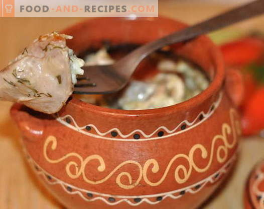 Chicken in a pot - the best recipes. How to cook chicken in a pot.
