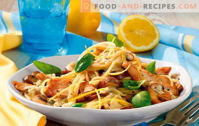 Pasta with chicken fillet - complete harmony! Recipes for pasta dishes with chicken fillet and vegetables, mushrooms, bacon, sauces