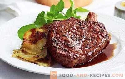 Pork entrecote in the oven and pan: the secrets of taste. Recipes for side dishes and sauces for pork entrecote in a frying pan