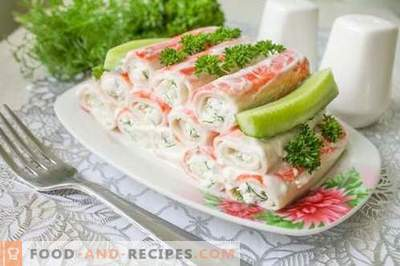 Super appetizer of stuffed crab sticks