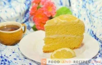 Lemon cake: biscuit, puff, souffle, sand, jelly, meringue, ice cream cake. Copyright recipes lemon cakes and glaze