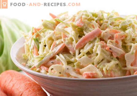 Cabbage salad with mayonnaise - the best recipes. How to properly and tasty cooked salad with cabbage and mayonnaise.