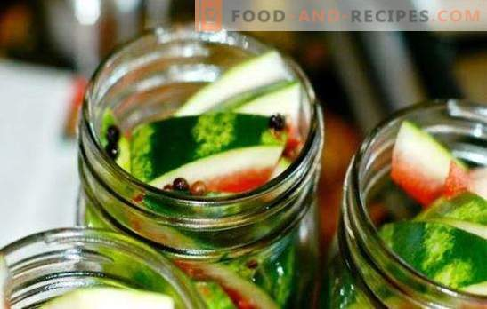 Harvesting watermelons in liter jars and bottles. Sweet, salty and spicy watermelons, canned in jars