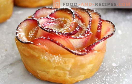 Puff pastry roses with apples - decoration of the holiday table. Surprise guests puff roses with apples