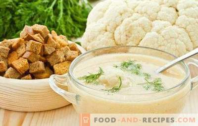 Cauliflower puree soup: dietary and tender. The best recipes for cauliflower puree soup with cheese, meat, fish