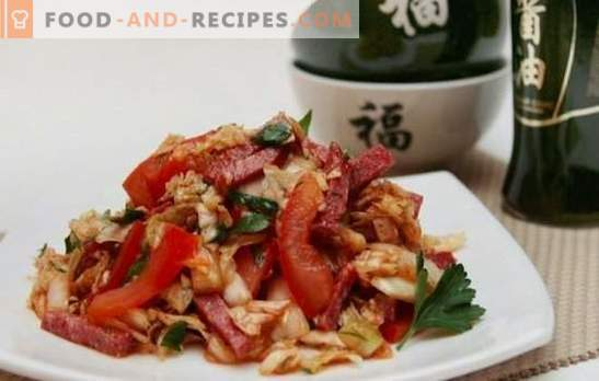 A simple salad with sausage - an appetizer for sausage lovers. The best recipes for simple salads with sausage: boiled, smoked