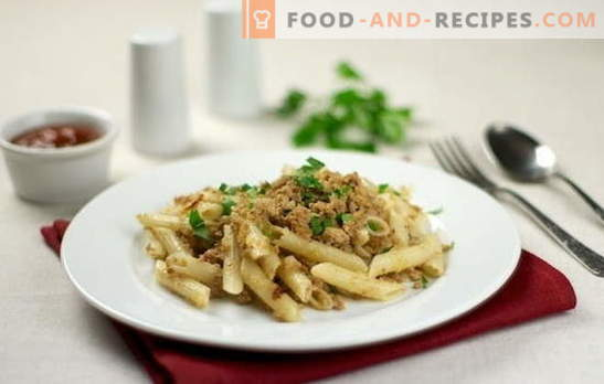 Navy pasta with minced meat - it's quick and nutritious! Top 10 pasta-style recipes with minced meat: pork, chicken, collective
