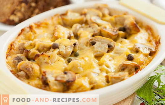 Potatoes in French with mushrooms in the oven - there is no limit to delight! Recipes for cooking potatoes in French with mushrooms in the oven