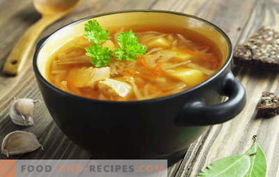 Recipes for soups from fresh cabbage, cabbage soup, borscht. Fish and meat,