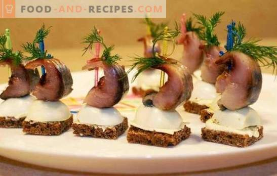 Herring snack - menu for the holiday table. Ways to design snack dishes of common herring