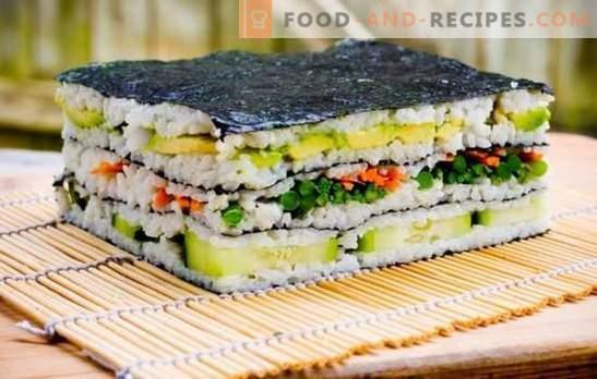 Sushi cake: bright and stylish! Cooking sushi cake with red fish, shrimp, crab sticks, caviar