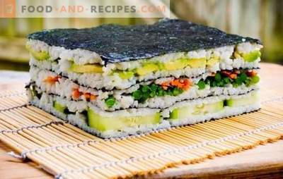 Sushi cake: bright and stylish! Cooking sushi cake with red fish, shrimp, crab sticks, caviar